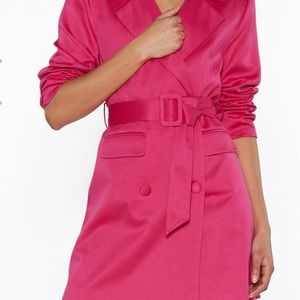 Nasty gal pink belted tuxedo dress